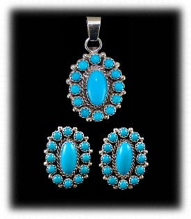Turquoise Native American Earrings and Pendant