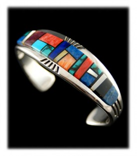 Native American Inlaid Silver Bracelet