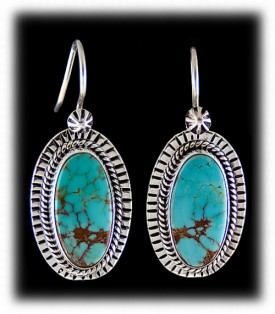 Native American Earrings with Blue Turquoise