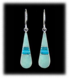 Native American Indian Turquoise Inlay Earrings