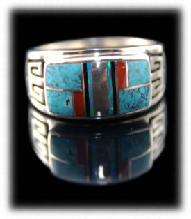 Native American Inlaid Mens Band Ring
