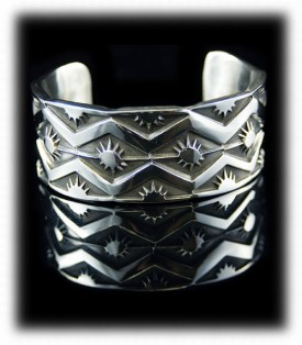 Navajo Handmade Sterling Silver Bracelet - Native American Indian Handmade
