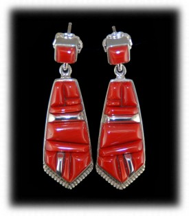 Navajo Inlaid Coral Earrings - Native American Silver Jewelry