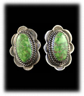 Carico Lake Turquoise Earrings - Native American Silver Jewellery