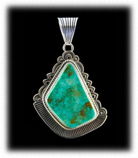 Native American Handmade Silver Pendant with Green Turquoise
