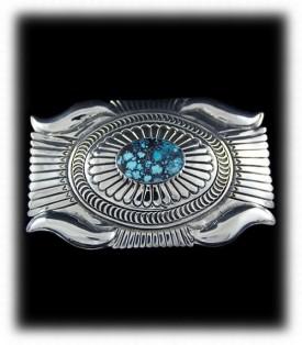 Soutwestern Silver Buckle - Navajo handmade