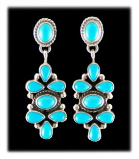Carico Lake Native American Turquoise Jewelry - Classic Navajo Handmade Silver Earrings