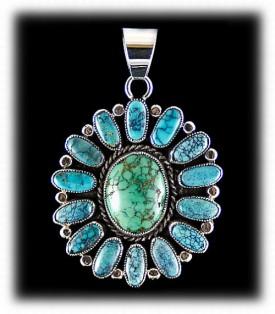 Navajo Silver Pendant - Spiderweb Turquoise