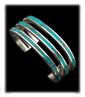 Native Indian Jewelry - Turquoise Inlay Bracelet