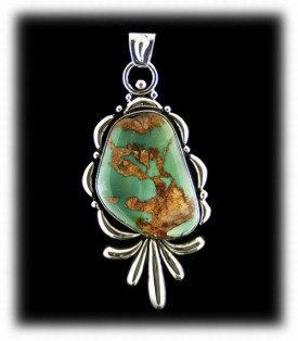 Green Royston Turquoise Pendant from Durango Silver Co