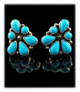 Navajo Turquoise Cluster Earrings - Post or Clips