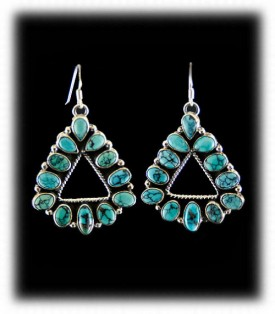 Navajo Turquoise Earrnigs - Cluster Style