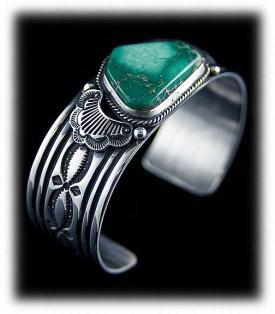 Navajo Stamped Mens Turquoise Bracelet