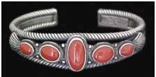 Coral Navajo Indian Jewelry Bracelet