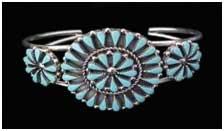 Navajo Indian Cluster Turquoise Bracelet