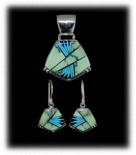 Navajo Inlay Jewelry Pendant and Earring Set