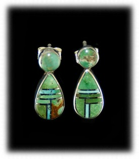 Navajo Turquoise Inlay Earrings