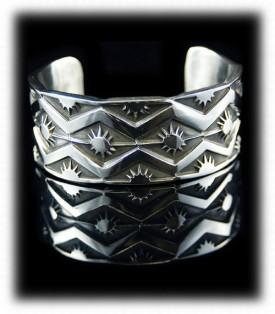 Navajo Silver Bracelet - Navajo Silver Stampwork