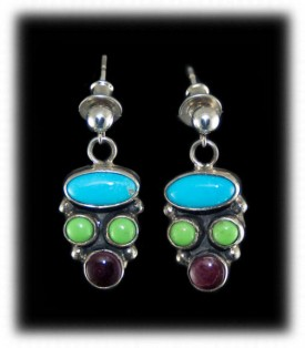 Multi Color Navajo Turquoise Earrings