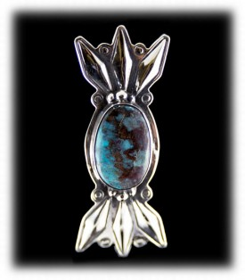 Bisbee Turquoise Pin - Navajo Silver