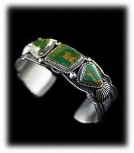 Navajo Silver Bracelet - Green Turquoise Bracelet