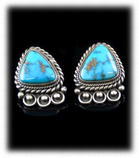 Morenci Turquoise Navajo Turquoise Earrings - Navajo Turquoise Earrings