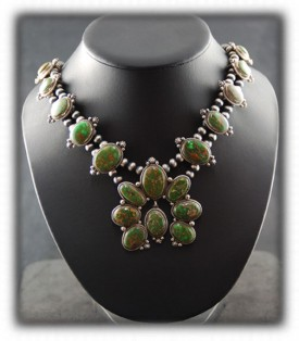 Navajo Silver Necklace - Nevada Green Turquoise Silver Necklace