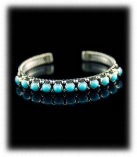 Navajo Turquoise Row Bracelet - Classic Navajo Jewelry