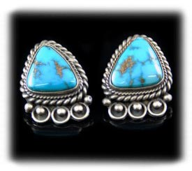Navajo Indian Southwest Earrings With Morenci Turquoise