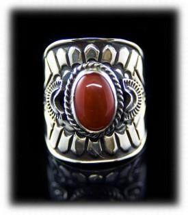 Navajo Handmade Coral Sterling Silver Ring