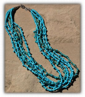 Santo Domingo Turquoise Bead Necklace
