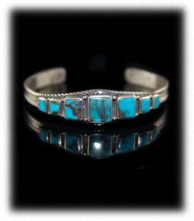 Navajo Jewelry - Mens Turquoise Row Bracelet