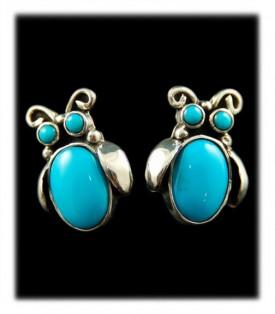 Native American Turquoise Earrings - Navajo