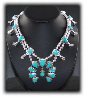 Navajo Turquoise Jewelry  Squash Blossom Necklace