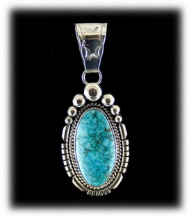 Indian Jewelry - Navajo Handcrafted Turquoise Pendant