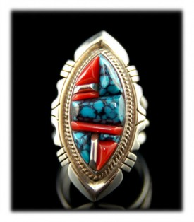 Inlaid Navajo Turquoise Ring
