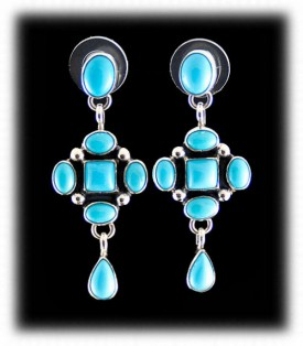 Navajo Turquoise Earrings - Navajo Silver
