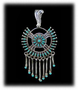 Needle Point Sleeping Beauty Turquoise Pendant