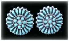 zuni needle point turquoise jewelry earrings