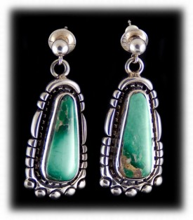 Navajo Green Turquoise Earrings