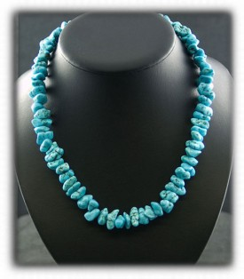 Nugget Bead Necklace Turquoise