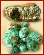 Number 8 turquoise nugget and #8 turquoise cabochons, turquoise rough