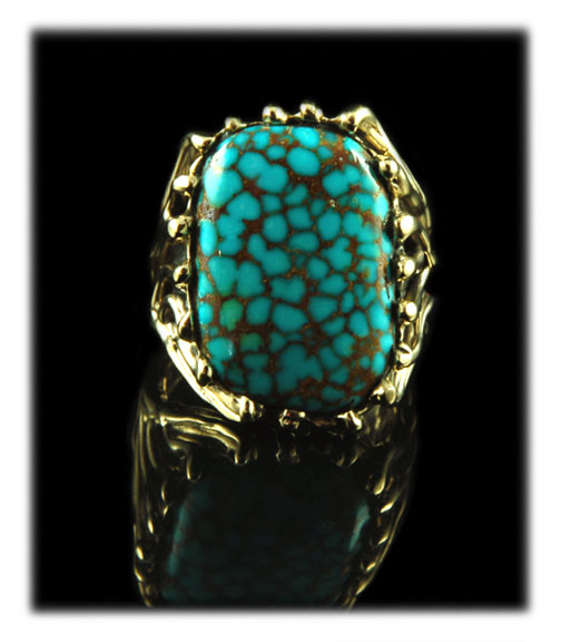 14k Gold and Number Eight Spiderweb Turquoise Ring
