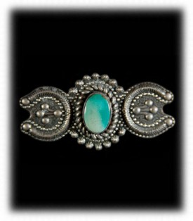 Old Fred Harvey Silver and Turquoise Pin