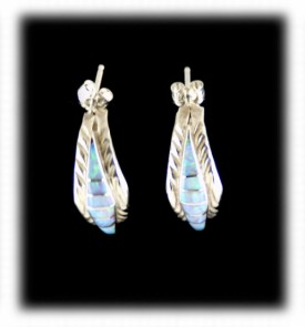 Opal Hoop Earrings - Sterling Silver