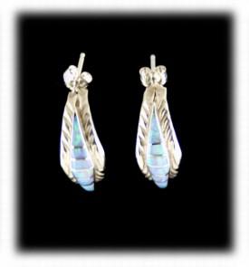Opal Hoop Earrings - Sterling Silver