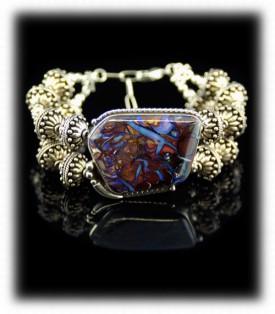 Boulder Opal Silver Bracelet by John Hartman