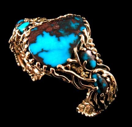 Bisbee Turquoise Gold Bracelet