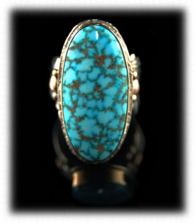 Organic Kingman Turquoise in Gold Ring