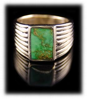 Lime green Orvil Jack Turquoise Gold Ring